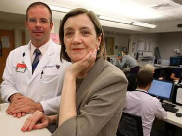 Dr.Lauge Sokol-Hessner (left) and Pat Folcarelli worked on the hospital's initiative.